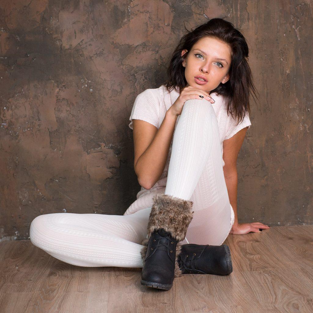 white VOGUE pantyhose - model Veronika Evdokimova