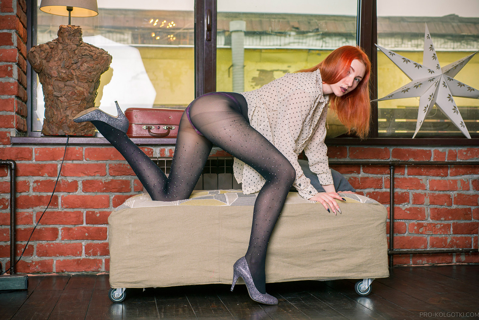 Beautiful Kaylee in Black Rhinestone Pantyhose in PRO-KOLGOTKI 2018-05(1)