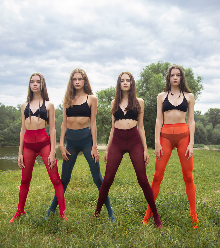 Summer Girls in Colored Pantyhose by Lera Dopirchuk