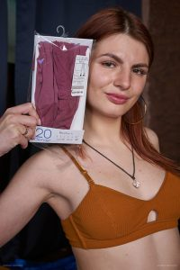 Sheer 20 den purple shade pantyhose worn by Anastasia during the 2020-05(1) session